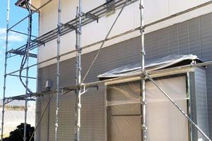 外壁屋根塗装 石岡市サイディングボード壁塗装(下~上塗り)