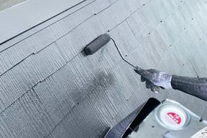 外壁屋根塗装 鹿嶋市 モルタル壁塗装(屋根の塗り)